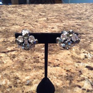 Vintage Clear and Grey clip on Rhinestone Earrings